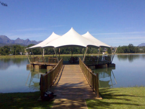 1 CUSTOM STRETCH TENT OVER FLOATING JETTY GREY