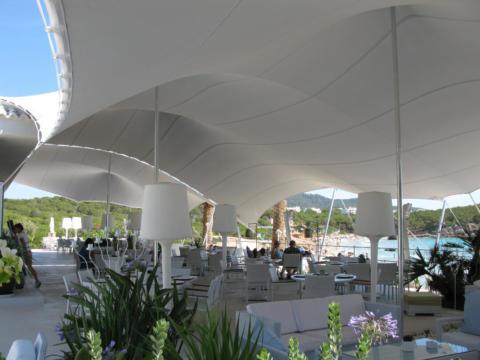 6 CUSTOM STRETCH TENT IBIZA BEACH FRONT GREY